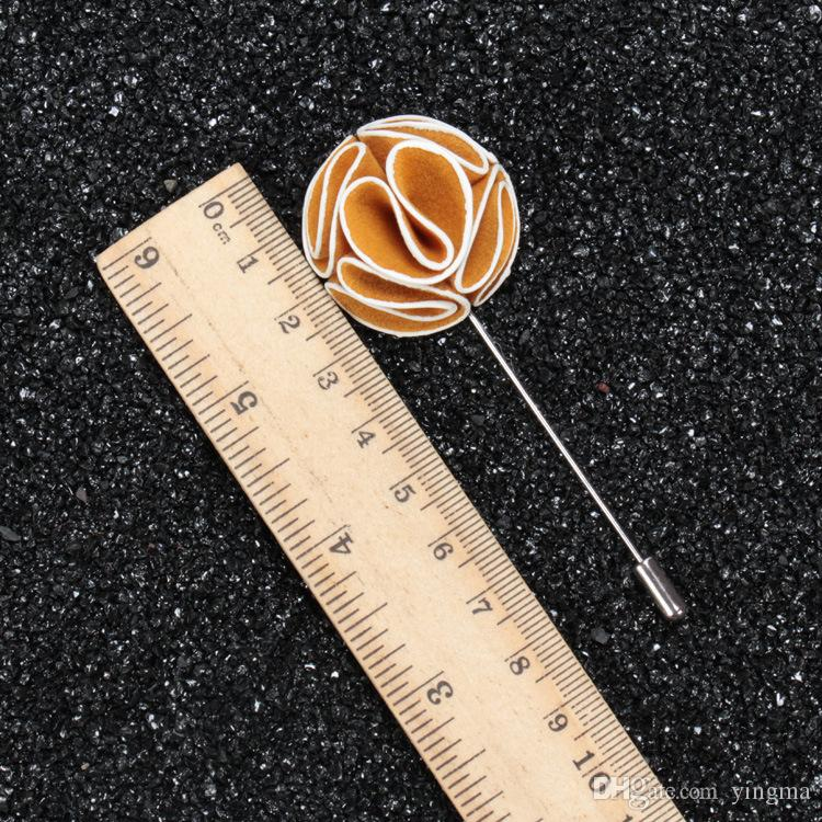 New fashion men brooch Flower lapel pin suit Boutonniere Fabric yarn pin button fabric flower brooch For wedding