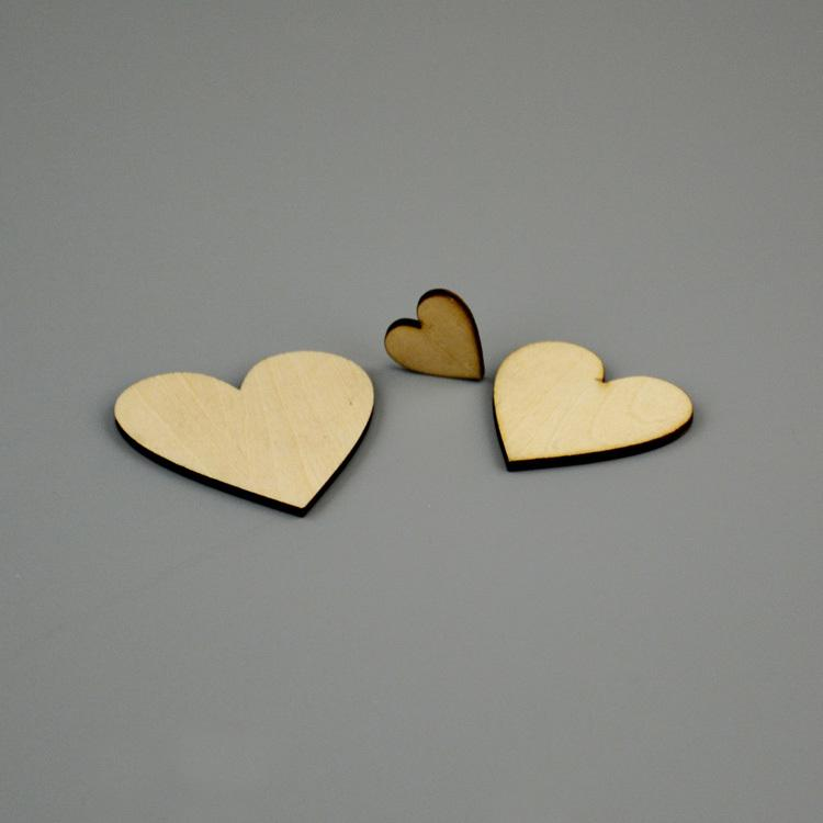 500pcs wooden cabochon Wood heart love blank unfinished natural crafts supplies wedding ornaments 2cm-6cm size upon option