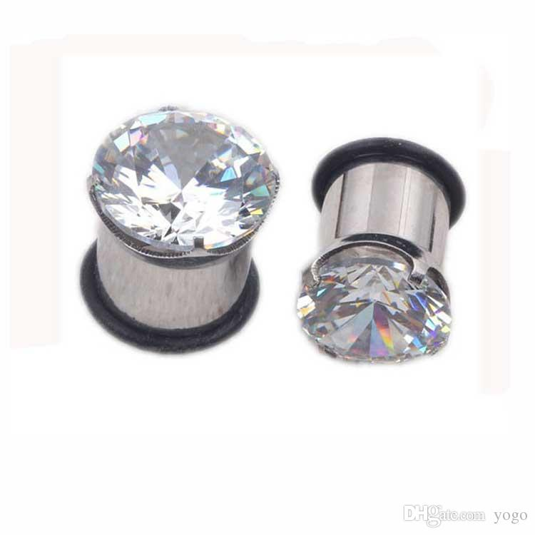 lux diamond large gauge 12 0004g plugs stainless steel flesh studded ear piercings bj7323 from yogo 119 dhgatecom