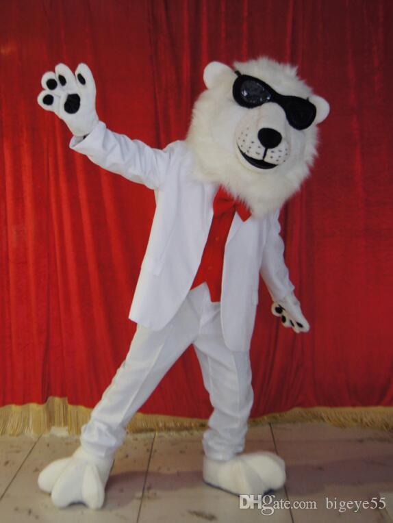Högkvalitativa riktiga bilder Deluxe White Lion Mascot Kostym Anime Kostymer Reklam Maskotte Vuxen Storlek Fabriks Direkt Gratis frakt