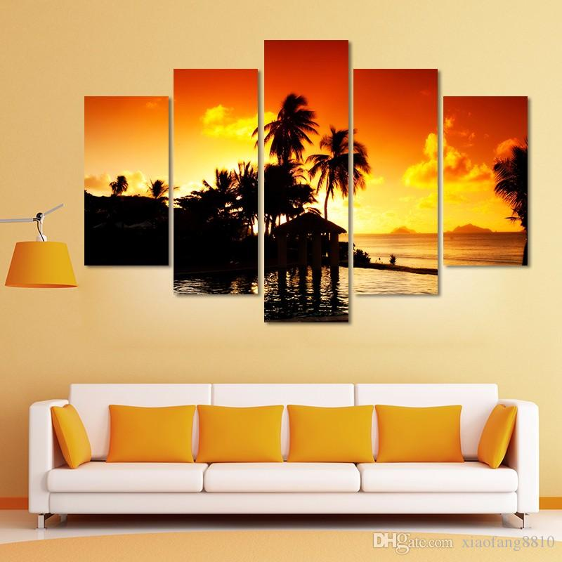 pôr do sol de ouro parede decoração da árvore seascape coco de Gravuras montanhas paisagem pintura da lona sala de estar sem moldura