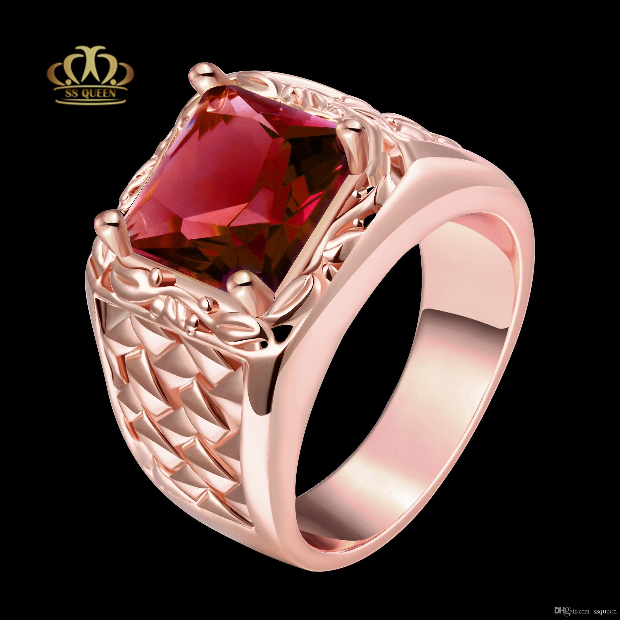 2018 Top Quality 18k Gold/ Rose Gold Plated Square Synthetic Ruby Cz ...