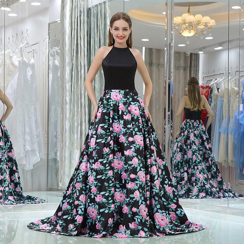 Elegant Halter Backless Prom Dresses For Teens 2018 Ball Gown