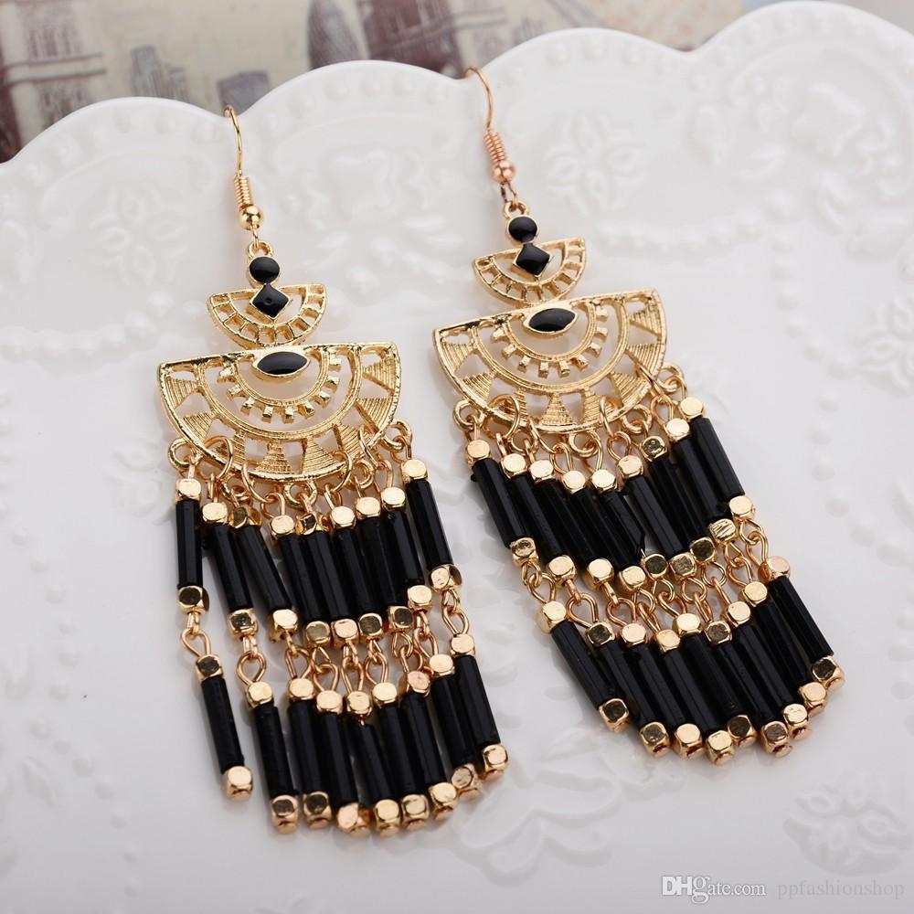 Mode rétro boucles d'oreilles, perles de riz gland boucles d'oreilles boucles d'oreilles, bijoux de vent bohème, boucles d'oreilles bijoux en gros livraison gratuite