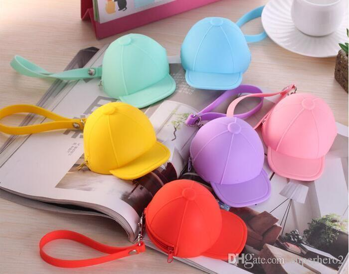 New Cute Coin Purses cartoon candy color Wallets baseball cap coin bag mini hat key silicone female change hand bag free