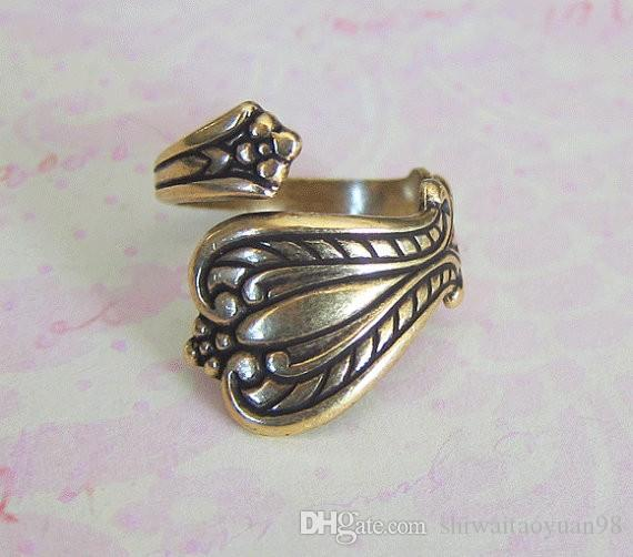 New Hot Fashion Top Quality Antiqued Silver antiqued brass Spoon Ring Finding