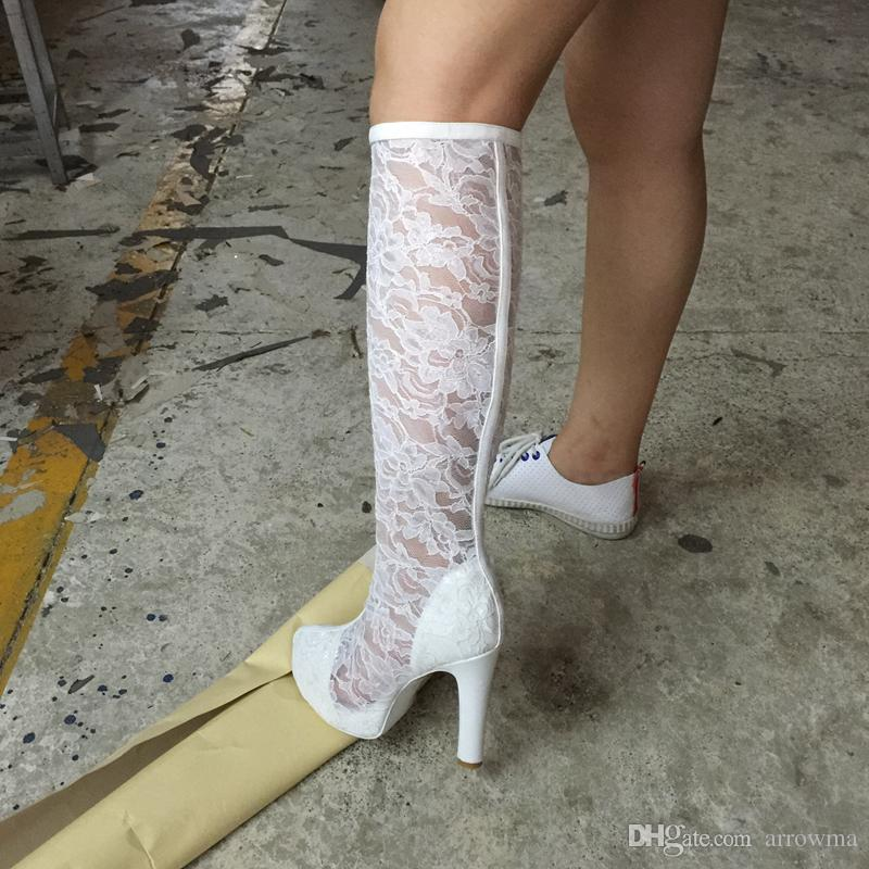 2016 Real Image Womens Lace Boots Plus Size Fashion Ladies Party Boots Zipper Fashion Women Boot White Ladies Shoes New Arrive Plus Size