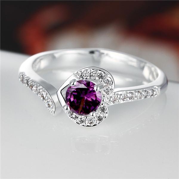 Meilleur cadeau plein de diamants anneau en forme de coeur bague en argent 925 bague STPR019C marque nouvelle pourpre pierre précieuse argent sterling plaque bagues