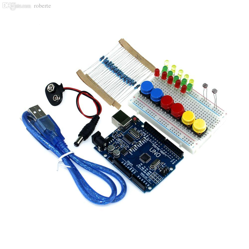 Discount Wholesale New Starter Kit Uno R3 Mini Breadboard Led Jumper Wiring Wire Button For Arduino Compatile From China