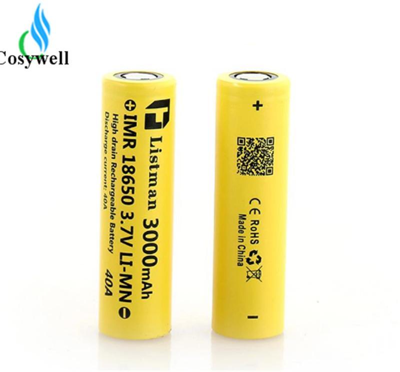 Оригинальный Listman батарея IMR 18650 3000mAh батареи 40А подходит kanger Nebox комплект subox мини Nnao Смок Xcube II в Koopor плюс ИПВ Д2 С. iStick 50Вт