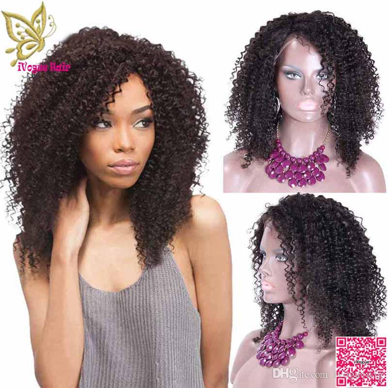 Afro Kinky Curly Full Lace Human Hair Wigs Brazilian Human Hair Lace Friont Wig Curly With Bleached Knots Baby Hair