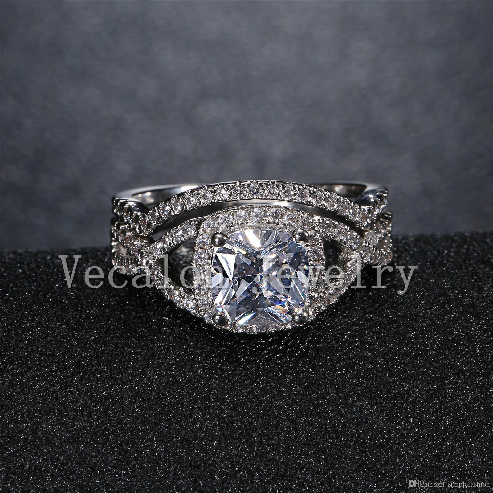 Vecalon 2016 여성을위한 새로운 디자인 쿠션 컷 3ct 시뮬레이션 다이아몬드 Cz 결혼 반지 세트 화이트 골드 채워진 약혼 반지