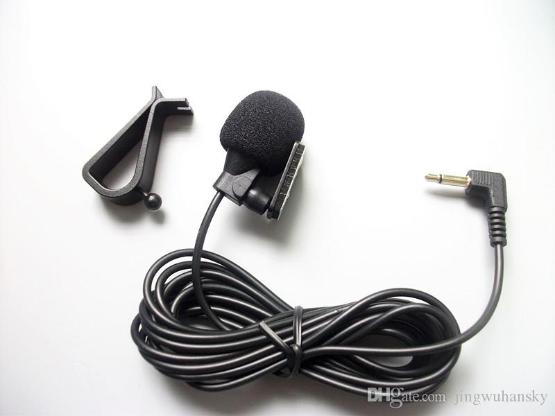 Mini Wired External Car Microphone for Car DVD Player and 3 m Cable with 3.5 mm Mono Audio Jack collar Microphone Fedex shipping