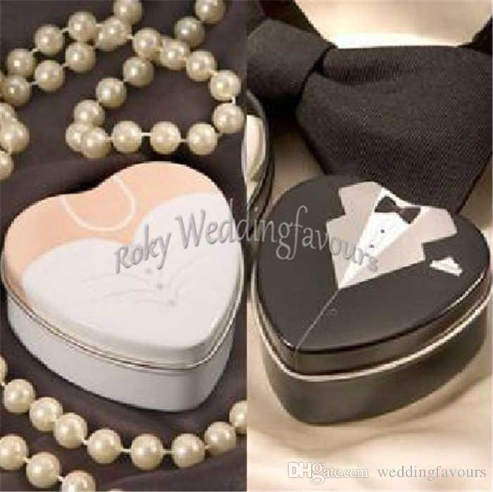 Dress and Tuexdo Favor Tin Boxes Heart Shape Metal Boxes Wedding Favors Supplies Engagement Party Table Setting Supplie