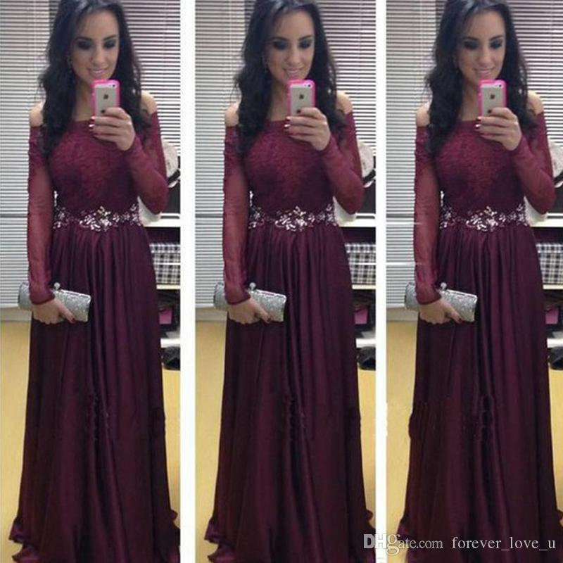 Maroon long prom dress