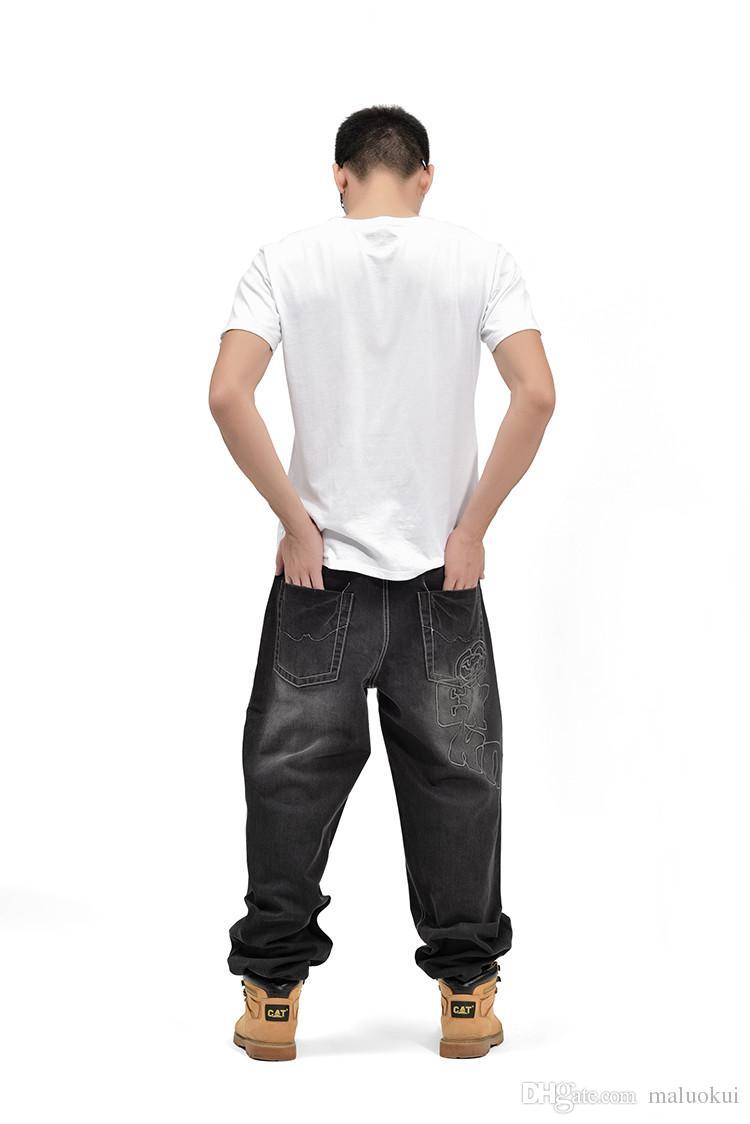 Amerikan Tarzı Marka Erkek Baggy Kot Gevşek Artı Büyük Boy Kot Erkekler Hip Hop Kot Uzun Paten Kurulu Jean Harem Pantolon