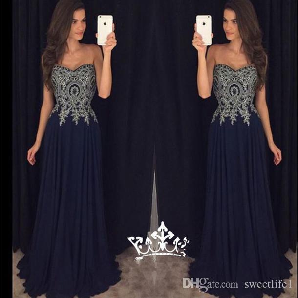 Neue 2019 Schatz Marineblau Abendkleider Vestidos De Fiesta Dubai Günstige Vintage Lange Brautkleider mit Spitze Appliques