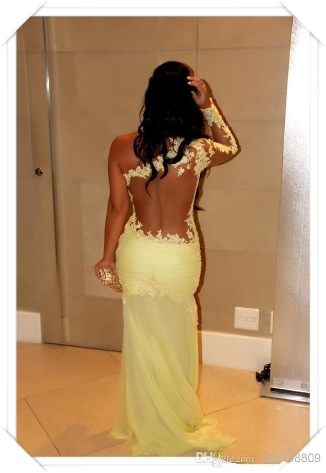 Single Long Sleeve Prom Evening Dress 2017 Lace Appliqued Sheath Floor-Length Yellow Tulle Evening Gowns