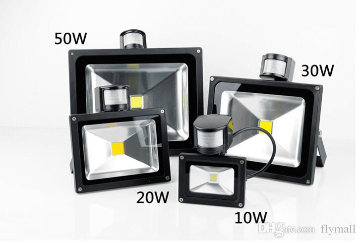 PIR Motion Sensor Led Floodlight Waterproof 10W 20W 30W 50W Led Flood Light Outdoor Project Lighting Garden Light Landscape Lamp AC 85-265V