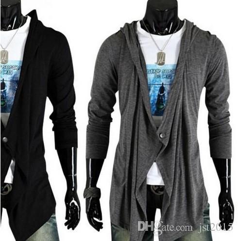 92ea5158ad4c Mens Fashion Cardigan Hooded Sweater Shirt Personality Lengthen Long ...