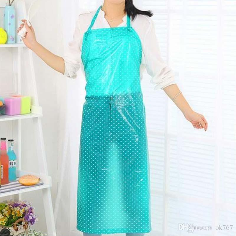 2017 new Fashion waterproof oil proof and waterproof apron kitchen home transparent plastic long work clothes