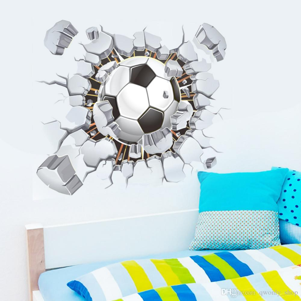 3d Football Soccer Fire Playground Broken Wall Hole view quote goal home decals wall stickers for kids rooms boy sport wallpaper