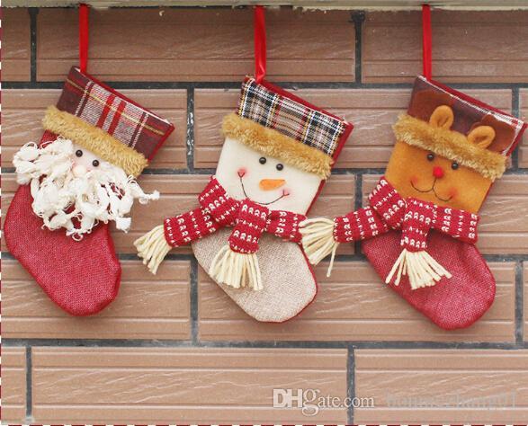 Christmas stocking canvas Christmas gift bag stocking 3 styles stock Christmas tree decoration socks wholesale