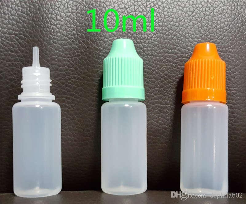 E cig bouteilles liquides 5 ml 10 ml 15 ml 20 ml 30 ml 50 ml de compte-gouttes vides LDPE en plastique pour enfants bouchons à aiguilles longues poignées à aiguilles longues pour l'huile de vape