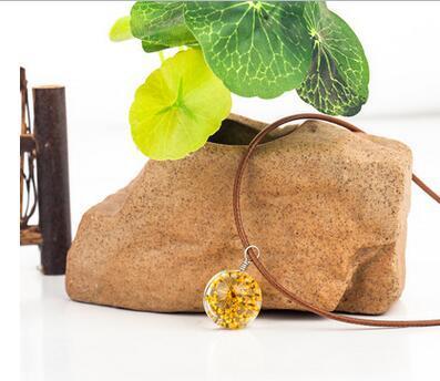 Top vendita 10 design tempo gemme pendente collana sfera di cristallo dente di leone collana pendente del fiore che desiderano bottiglie clavicola catena fai da te jelwery