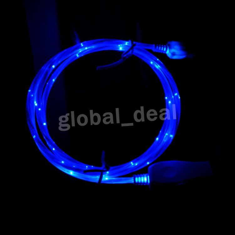 Flowing LED Visible Flashing USB Charger Cable 1M 3FT Data Sync Colorful Light Up Type c Cord Lead for Samsung S7 S6 edge HTC Blackberry