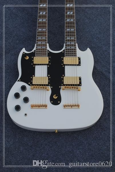 Custom 1275 Двойная шея для левой руки гитара Двойная шея 6/12 струны 12 струн Электрогитара в белом