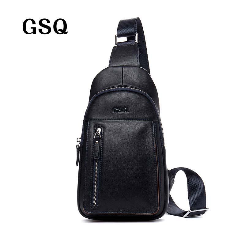 Gsq Men Chest Bag Genuine Leather Men Bag Brand Designer New ...