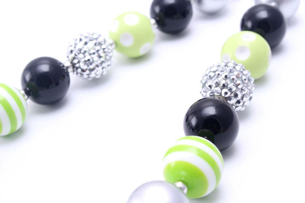 MHS.SUN Halloween Party Kid Chunky Necklace Black Diamond Pendant Toddlers Girls Bubblegum Bead Chunky Necklace Jewelry Gift For Children