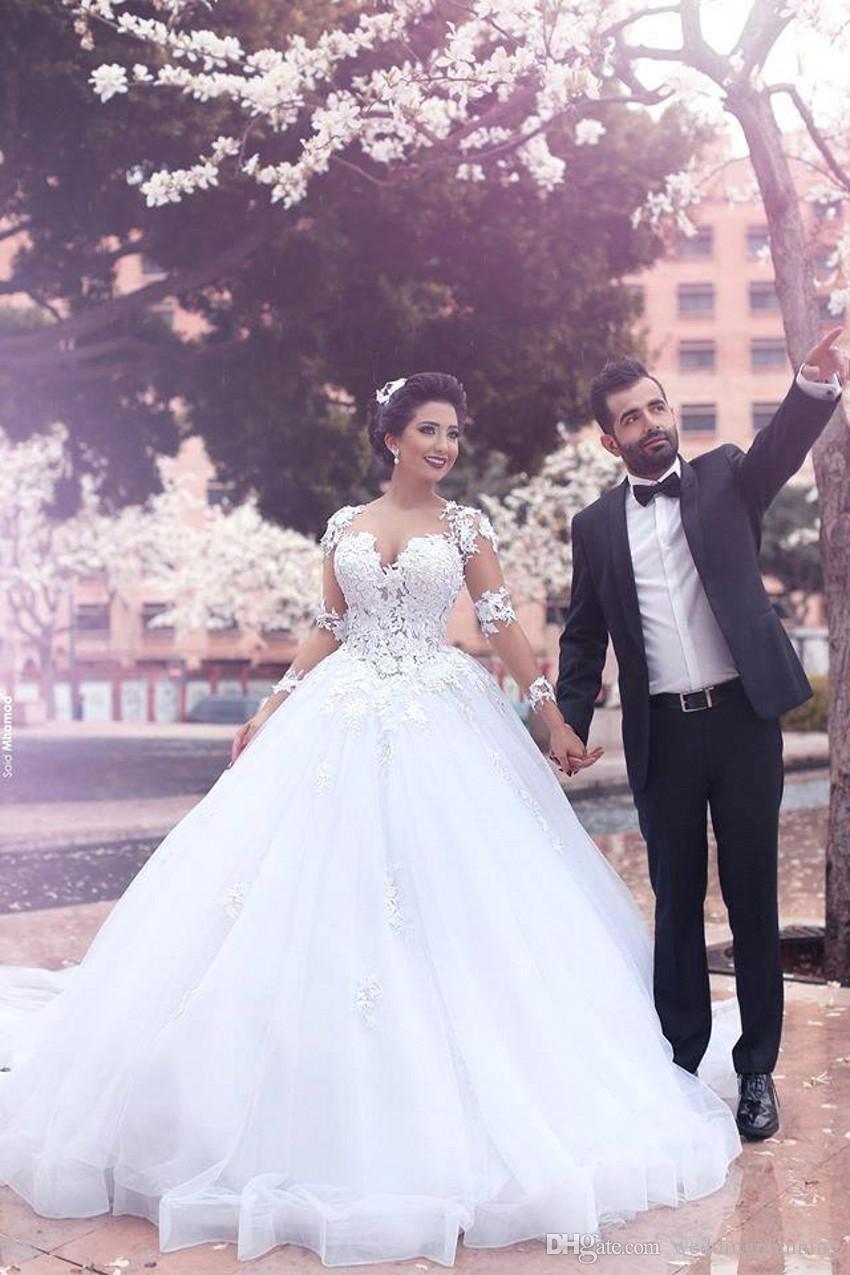 Musulmanes populares vestido de bola vestidos de novia formal Zuhair Murad palabra de longitud Vintage Hijab volantes vestido de novia de manga larga formal
