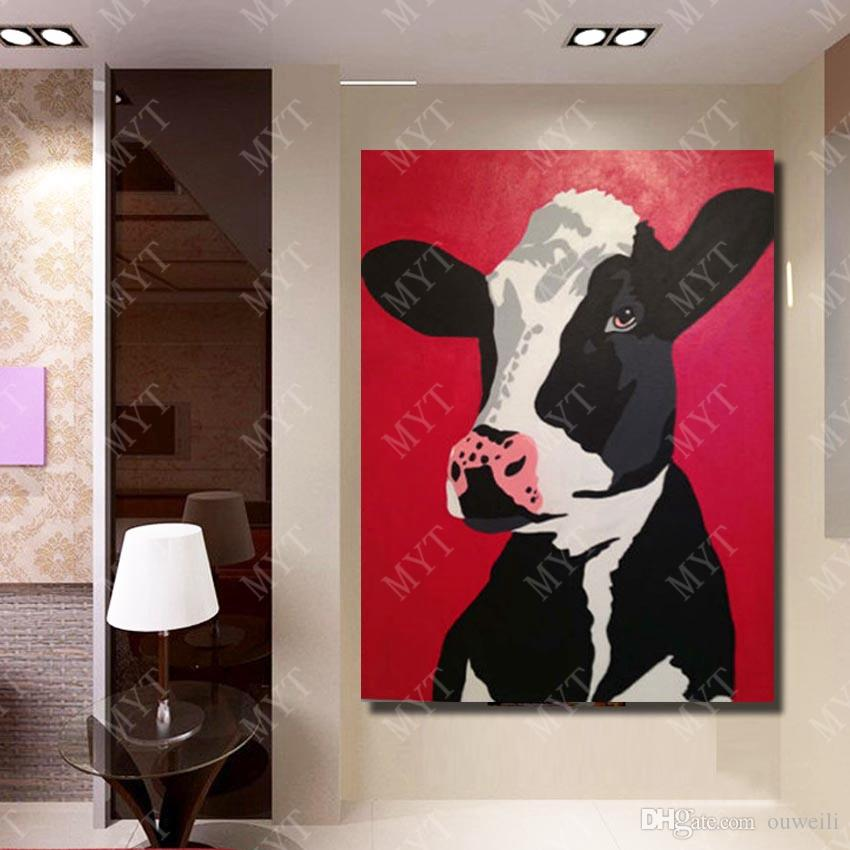 Decorative drop shipping red color abstract cartoon animal oil painting for home wall decor animal cow oil painting