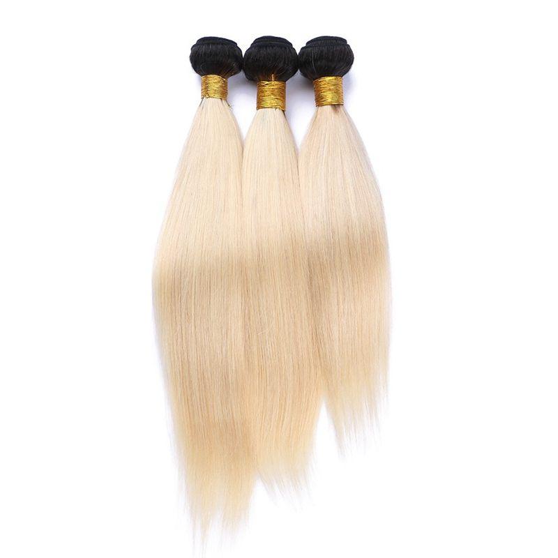 Два тона 1B / 613 темный корень ломбер прямые человеческие волосы ткачество уток 3 пучки много 9a блондинка ломбер перуанские волосы шелковистые прямые ткет