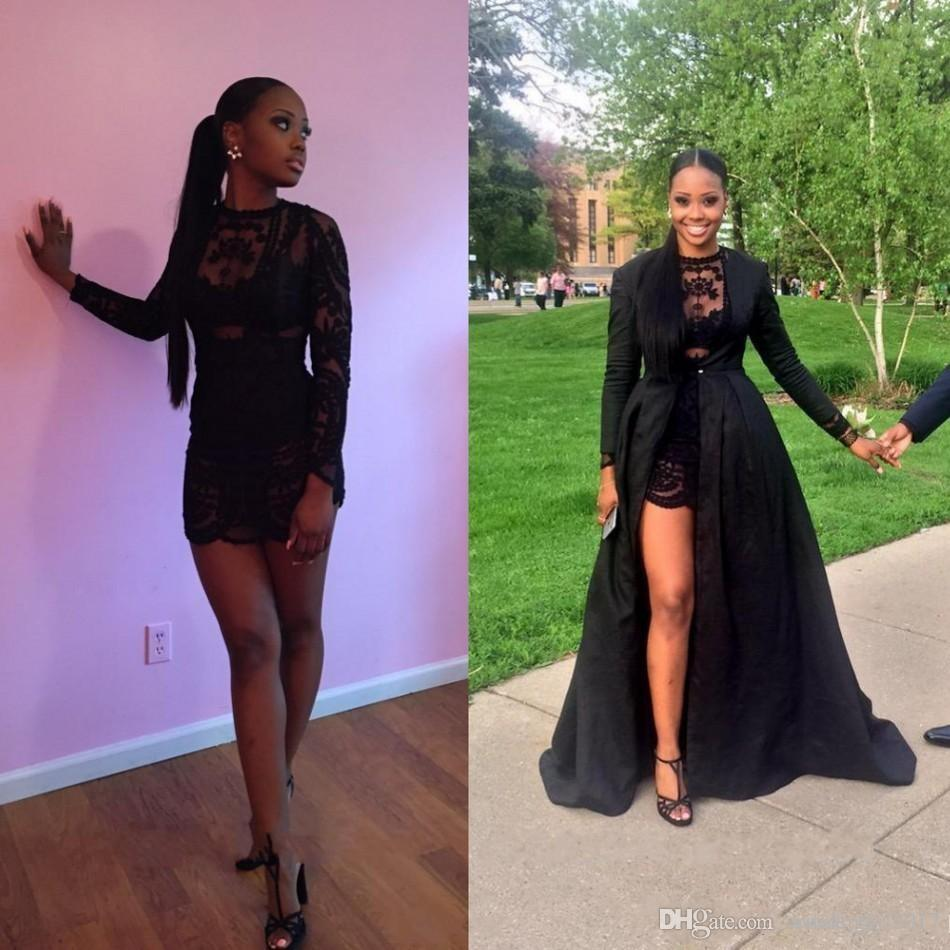 Sexy Two Pieces Short Prom Dresses See Through Black Lace Long Sleeve Detachable Coat Floor Length Mini Party Evening Pageant Dress