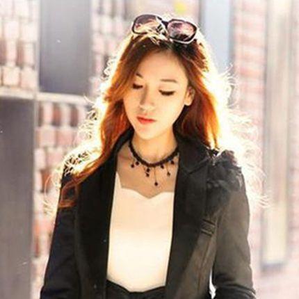 Women Fashion Crystal Lace Collar Pendant Chain Statement Bib Necklace Jewelry Black Lace Pendant Necklace