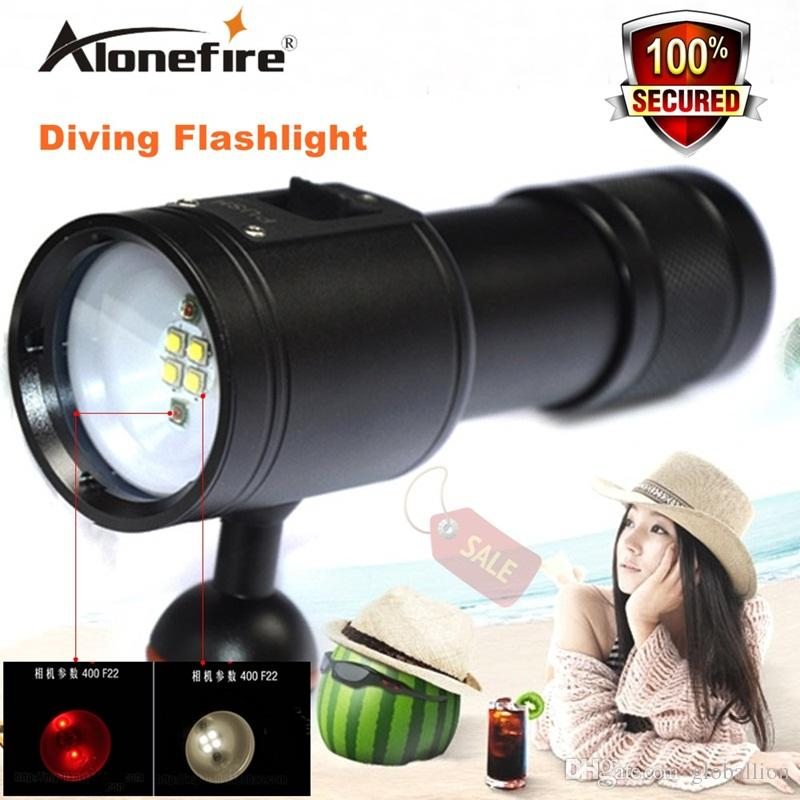 Alonefrie DV23 diving torch diving photography lights fill light red / white LED lighting high-power torch 26650 battery Fishing Flashlight