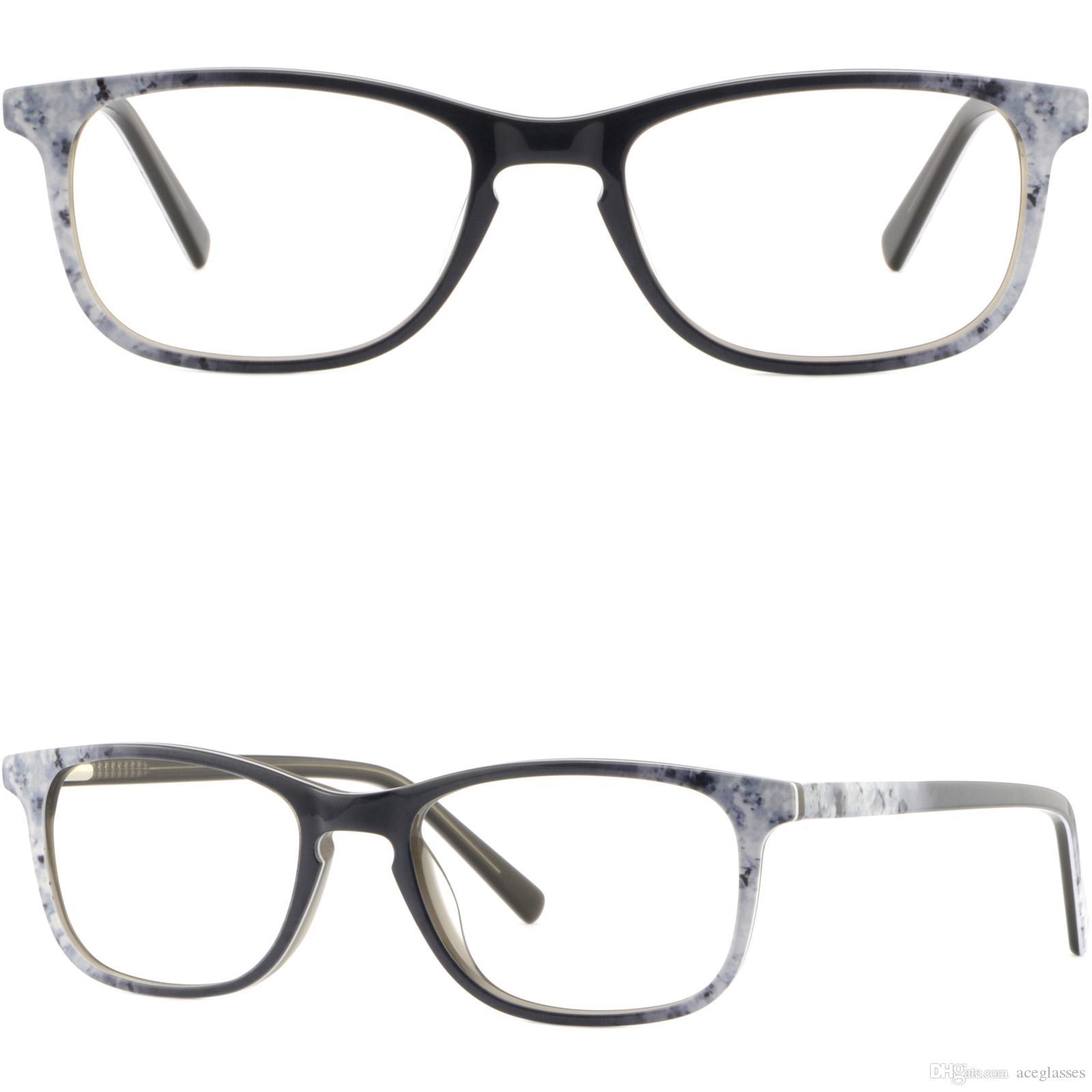 46a84b20658 Light Mens Women Acetate Plastic Frame Rectangle Prescription Glasses White  Grey Glasses Frame Online with  31.08 Piece on Aceglasses s Store