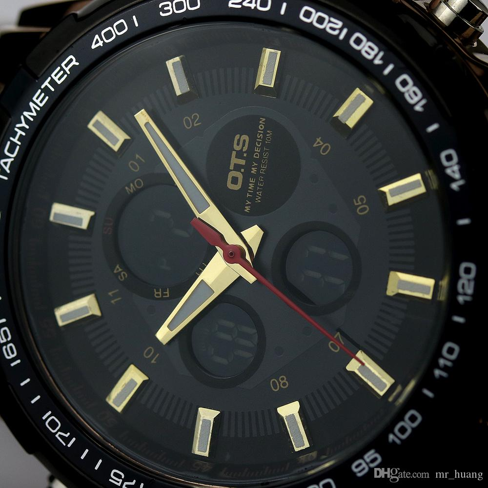 910de90d514 Compre Ots 2016 Relógio De Marca De Luxo Homens De Negócios Casual Relógio  De Pulso De Aço Inoxidável Esporte Militar Relogios Masculinos Digital  Relógios ...