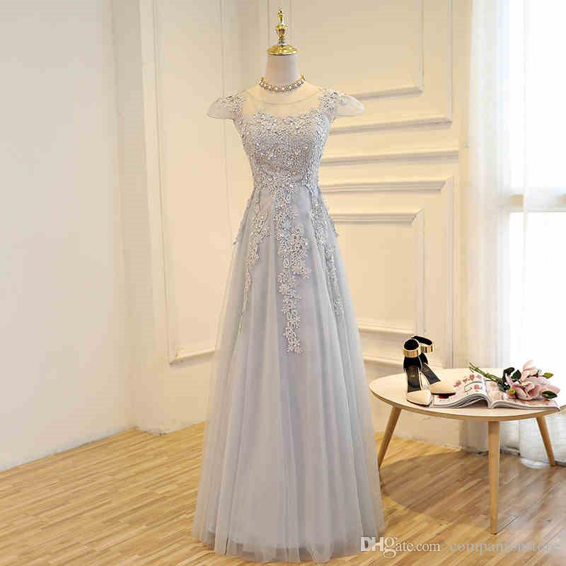 Cheap New Arrival In Stock Really Photo Grey Tulle A-Line Prom Dresses Short Sleeve Appliques And Beading Evening Dress 0407A