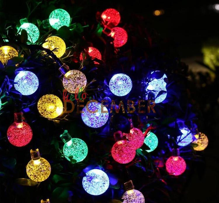 20FT 6M 30 LEDs Crystal Globe LED Solar Light Strings RGB/Blue/Red/Green/Pink/Purple/Warm/Cool Outdoor Decorative LED String Lights