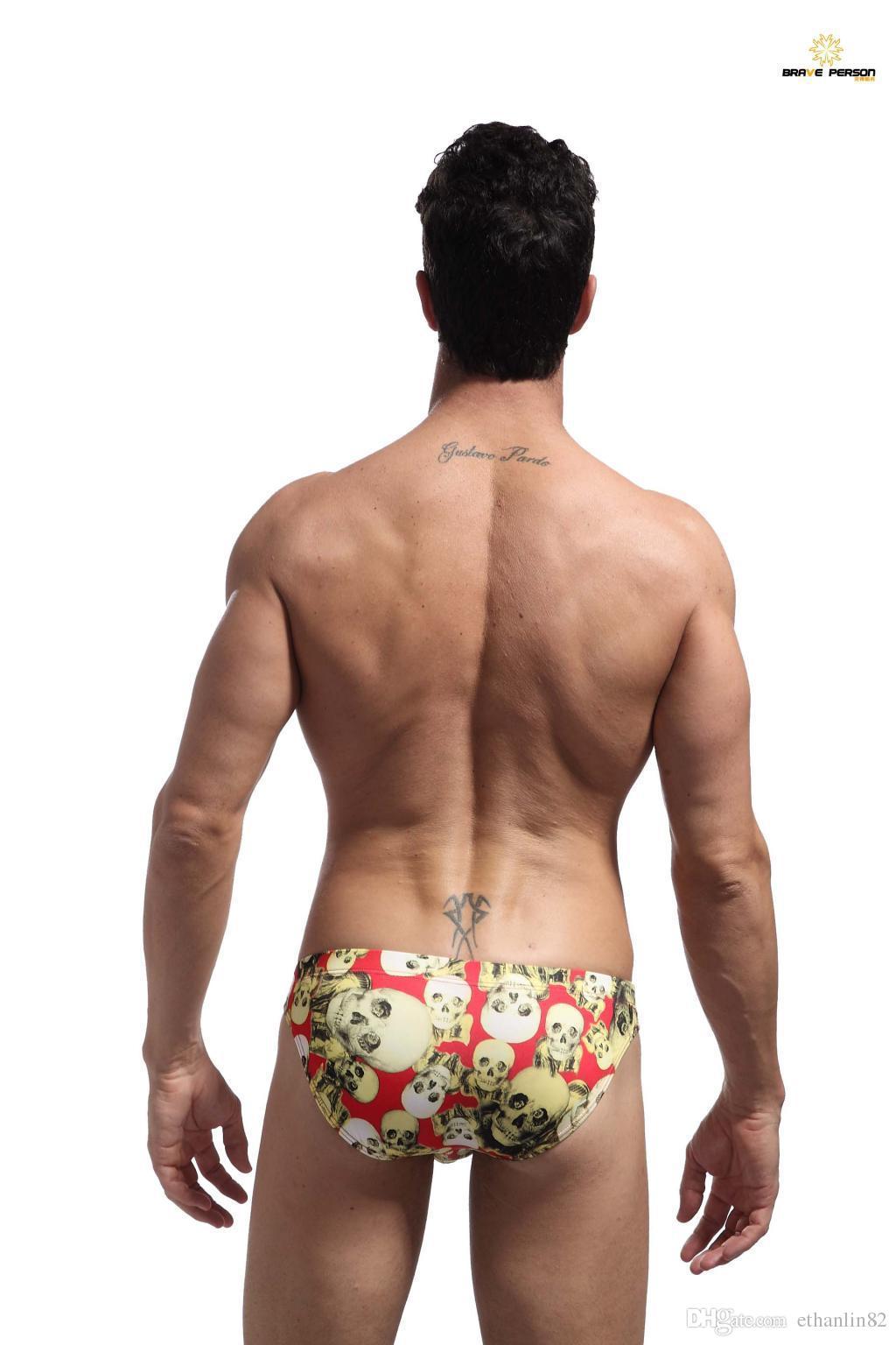 Brave Person Underwear Sexy Skull Stampa Mens Bikini Slip Gay Gay Slip 2016 HOT Pene a vita bassa Mutandine calzoncillos S M L