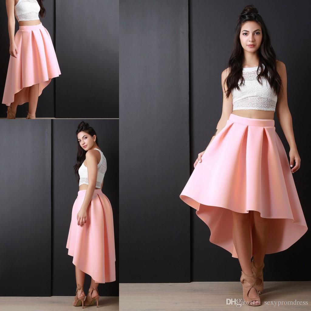 2017 Graceful Pink High Low Women Skirt 2017 New Fashion Satin ...