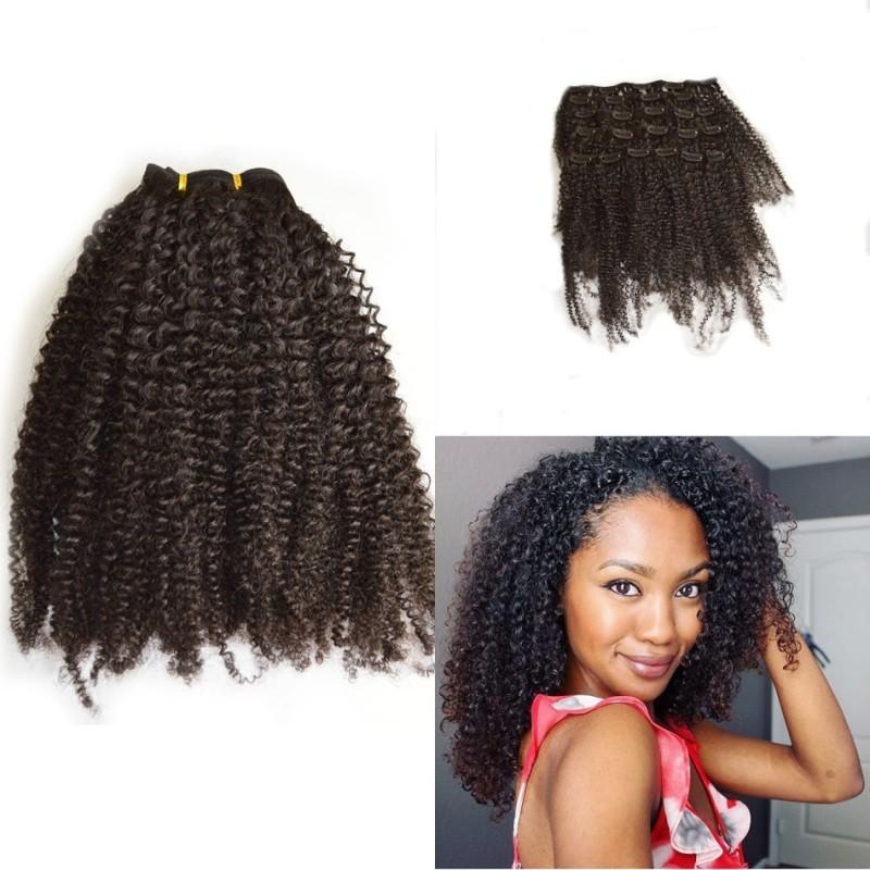 European Human Hair 4c Afro Kinky Curly Clip In Hair Extensions For