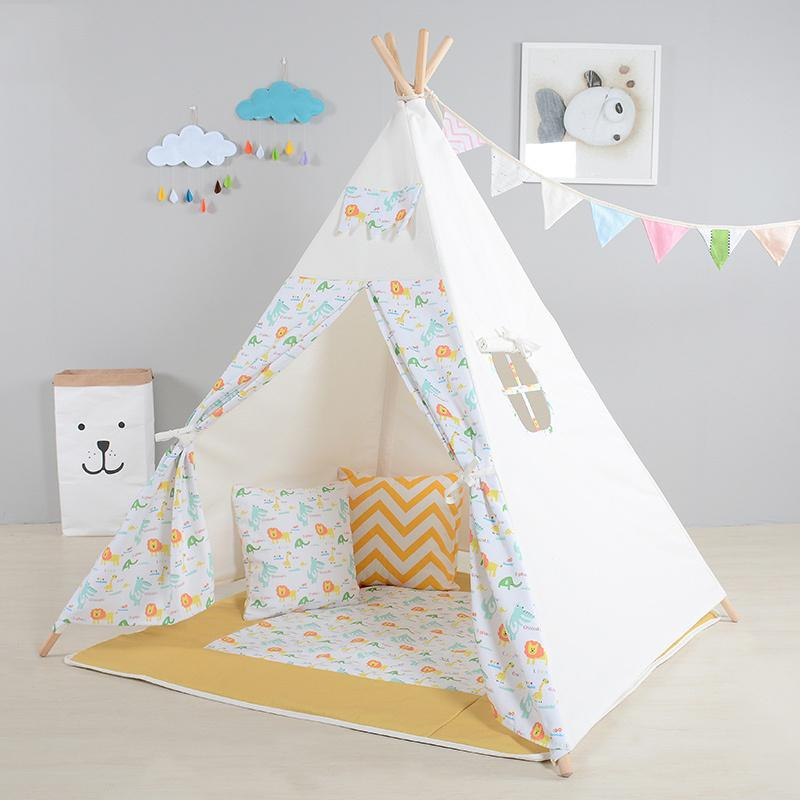 Kids Play Tent Cute Lion Pattern Playhouses For Children Indoor Cotton Canvas Funny Teepee For Baby Outdodr Indian Tipi Tent House Kids Outdoor Kids Tent ... & Kids Play Tent Cute Lion Pattern Playhouses For Children Indoor ...