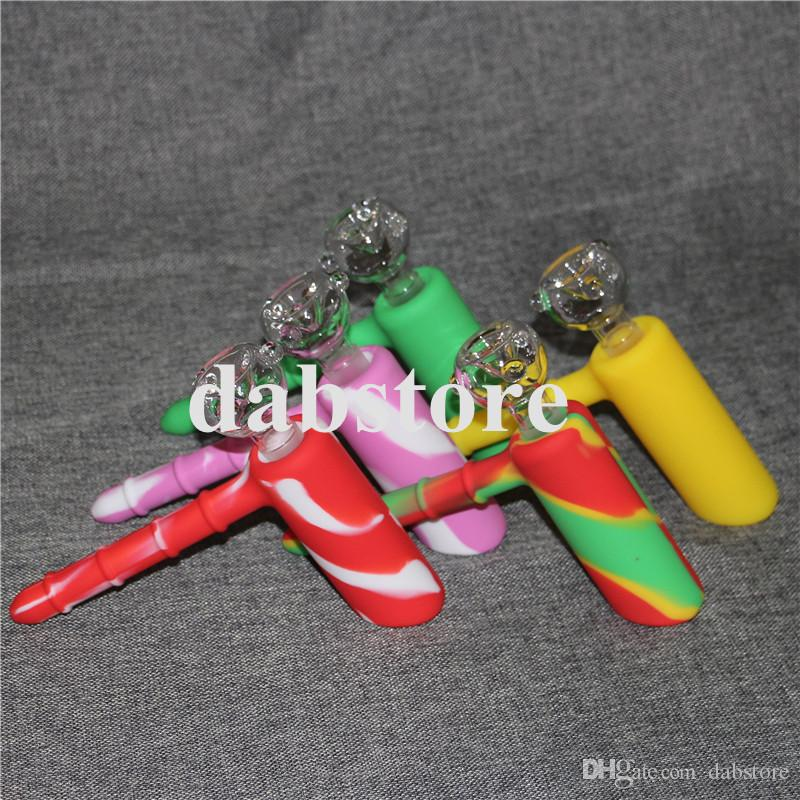 Silikon Tabakpfeife Mini Wasserpfeife für das Rauchen Dry Herb unzerbrechlich Wasser Percolator Bong Dab Öl Rig Smoking Pipes Handpfeife