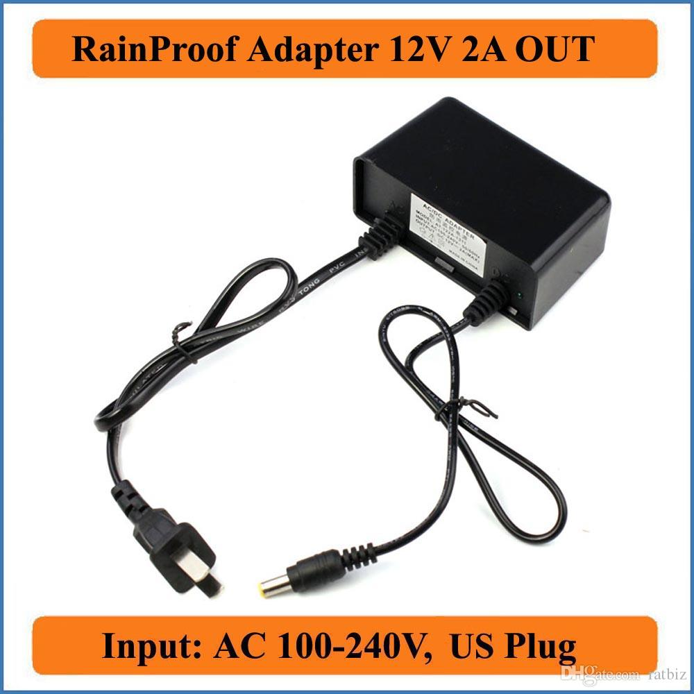Outdoor Rainproof 12V 2A US Plug AC DC Adapter AC 100-240V to DC12V Power Supply for CCTV Security Camera or LED strip lights