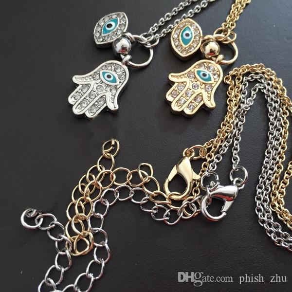 Fatima hand & Turkey blue eyes Antique Yellow Gold/Platinum Plated Pendant Necklaces for Women Men Religious Hot Fashion Hamsa Hand Jewelry